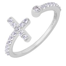 BlesT Sterling Silver White Topaz Open Shank Cross Ring