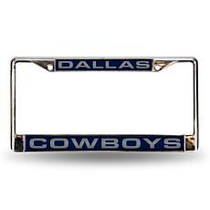 Blue Chrome License Plate Frame - Dallas Cowboys