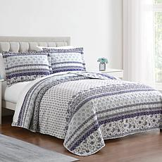 Boho Stripe 3-piece Queen Quilt Set