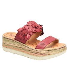 Born Fawn Leather Floral Slide Sandal