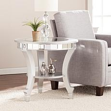 Bridgette Glam Mirrored Round End Table