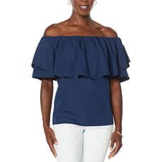 Brittany  Humble Off-the-Shoulder Ruffled Flounce Top