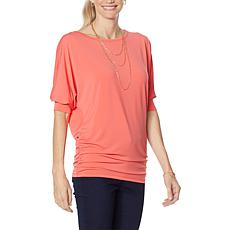 Brittany Humble Ruched Side Dolman-Sleeve Top