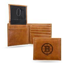 Bruins Laser-Engraved Billfold Wallet - Brown