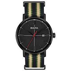 "Bulova ""Aerojet"" Black Stainless Men's Black Dial Nylon Strap Watch"