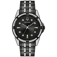 Bulova Black Stainless Steel Men's Watch and ID Bracelet Gift Set