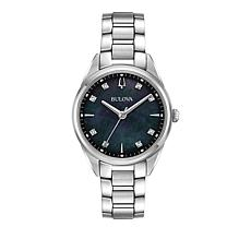 Bulova Diamond Marker Stainless Steel Black Dial Bracelet Watch