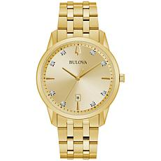 Bulova Goldtone Men's Diamond-Accented Date Feature Watch