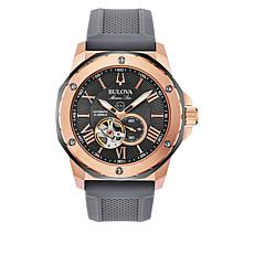 Bulova Marine Star Men's Automatic Skeleton Dial Rose-Tone Watch