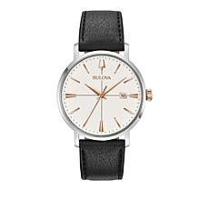 Bulova Men's Aerojet Silvertone Black Leather Strap Watch