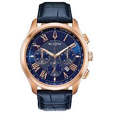 Bulova Men's Chronograph Watch, Blue Leather Strap