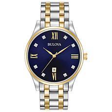 Bulova Men's Classic Diamond Two Tone Stainless Steel Watch