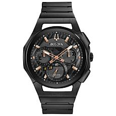 Bulova Men's CURV Chronograph Black Stainless Steel Bracelet Watch