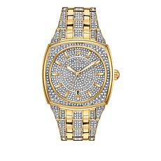 Bulova Men's Pavé Crystal Goldtone Cushion Bracelet Watch