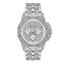 Bulova Men's Pavé Crystal Silvertone Dodecagon Bracelet Watch