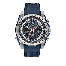 "Bulova Men's ""Precisionist"" Blue Rubber Strap Watch"