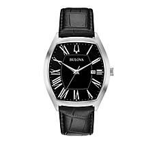 Bulova Men's Silvertone Stainless Steel Black Leather Strap Watch