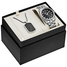 Bulova Men's Stainless Steel Crystal Boxed Set Watch with Dog Tag