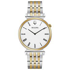 Bulova Men's Two-Tone Stainless Steel White Dial Slim Watch