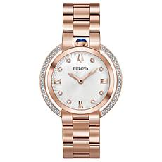 "Bulova ""Rubaiyat"" Rosetone Diamond Women's Bracelet Watch"
