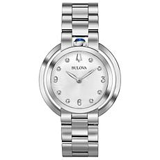 "Bulova ""Rubaiyat"" Silvertone Diamond Women's Bracelet Watch"