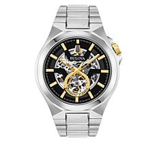 Bulova Silvertone with Goldtone Accent Men's Skeleton Automatic Watch