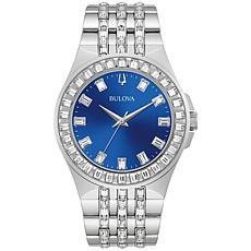 Bulova Stainless Steel Men's Blue Dial Crystal Bracelet Watch