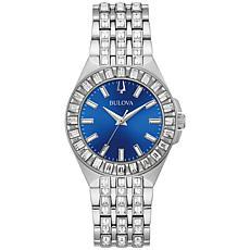 Bulova Stainless Steel Women's Blue Dial Crystal Bracelet Watch