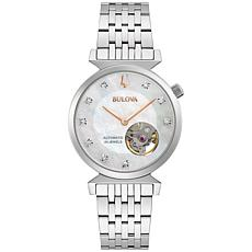 Bulova Stainless Steel Women's Diamond-Accented Automatic Watch