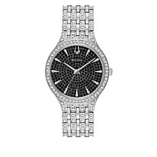 Bulova Stainless Steel Women's Round Black Dial Pavé Bracelet Watch
