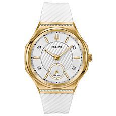 Bulova Women's CURV Diamond White Rubber Strap Watch