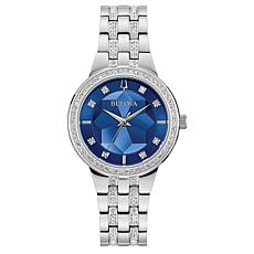 Bulova Women's Stainless Steel Crystal Watch with Blue Faceted Dial