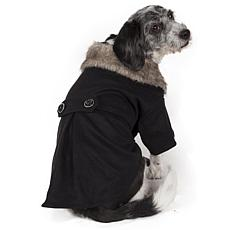 Buttoned Coast-Guard Fashion Faux-Fur Collared Wool Pet Coat