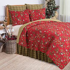C&F Home Chickadee Red King Quilt Set