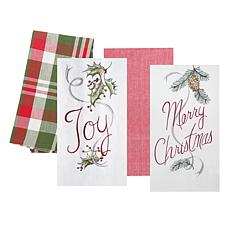 C&F Home Merry and Joy Kitchen Flour Sack Kitchen Towel Set of 4
