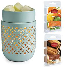Candle Warmers Etc. Soft Mint Wax Warmer Bundle with Two Wax Melts