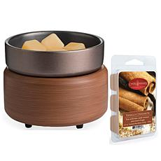 Candle Warmers Pewter Walnut 2-in-1 Warmer Set with 2.5oz Wax Melt