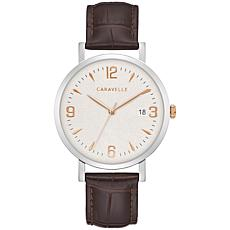 Caravelle by Bulova Men's  Date Window Brown Leather Strap Watch