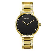 Caravelle Goldtone Stainless Steel Men's Black Dial Bracelet Watch
