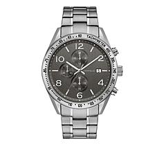Caravelle Men's Black Dial Stainless Steel Chronograph Subdial Watch