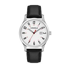 Caravelle Men's Stainless Steel White Dial Black Strap Watch