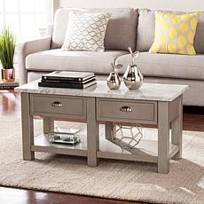 Caris Faux Marble Rectangular Cocktail Table - Gray