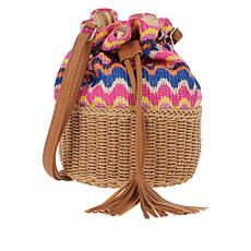 Carlos by Carlos Santana Straw and Paper Bucket Bag