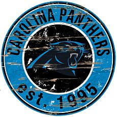 Carolina Panthers Round Distressed Sign