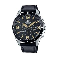 Casio Edifice  Men's Black Leather Strap Chronograph Watch
