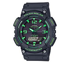 Casio Men's Gray and Green Solar Analog-Digital Watch