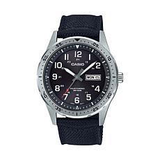Casio  Men's Solar-Powered Analog Black Nylon Strap Watch