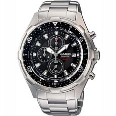 Casio Men's Stainless Steel Dive-Inspired Chronograph Bracelet Watch