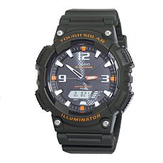 Casio Men's Tough Solar Black Sport Watch with Orange Accents