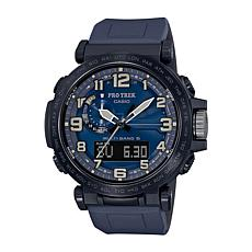Casio Pro Trek Men's Triple Sensor Atomic Solar Watch - Blue Silicone